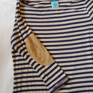 Striped long sleeve top with elbow patch